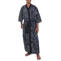 Men's cotton robe, 'Twilight Blues' - Men's Patterned Cotton Robe in Slate Blue and Black