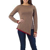 Alpaca blend sweater, 'Scarlet Peek' - Diagonal Hem Brown Alpaca Blend Sweater with Red Trim