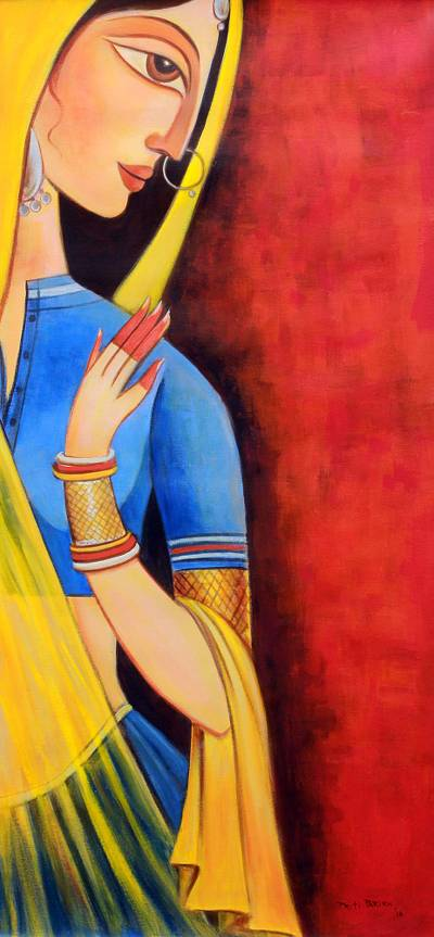 'Beautiful Radha' - Portrait of Radha Signed Painting from India Hinduism Art