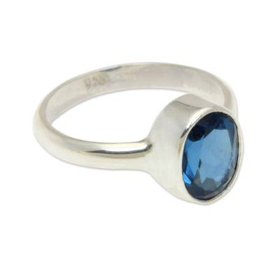London blue topaz single stone ring, 'True Emotion' - London Blue Topaz and Sterling Silver Ring