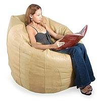 Leather beanbag chair cover,