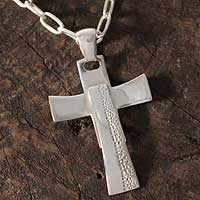Sterling silver cross necklace, 'Faith for Today' - Sterling Silver Cross Necklace on Cable Chain