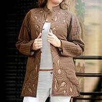 Cotton jacket, 'Chocolate Treat' - Brown Cotton Jacket with Kantha Embroidery