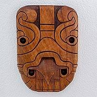 Cedar wood mask, 'Jaguar Man' - Handcrafted Carved Cedar Wood Mask