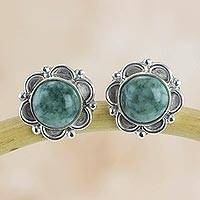 Jade flower earrings, 'Forest Princess' - Guatemalan Hand Crafted Light Green Jade Earrings