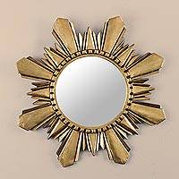 Mohena wood mirror, 'Cuzco Sun' (medium) - Handcrafted Gilded Wood Mirror (Medium)