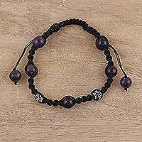 Amethyst Shambhala-style bracelet,