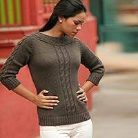 Alpaca blend sweater, 'Braided Cocoa' - Alpaca Wool Pullover Sweater