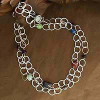 Jade and lapis long necklace,