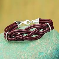 Sterling silver and leather wristband bracelet, 'Brick Love Knot' - Leather Wristband Bracelet