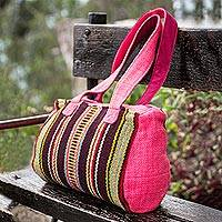 Wool handbag, 'Passion' - Hand Crafted Wool Striped Shoulder Bag