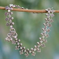 Sterling silver anklet, 'Starlight Snowflakes' - Indian Artisan Crafted Sterling Silver Anklet