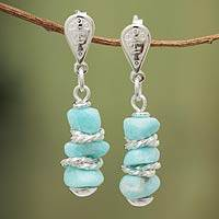 Amazonite dangle earrings, 'Andean Women' - Sterling Silver and Amazonite Earrings