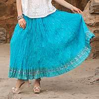 Cotton skirt, 'Royal Turquoise Jaipur' - Crinkled Cotton Turquoise Skirt with Block Print Flowers