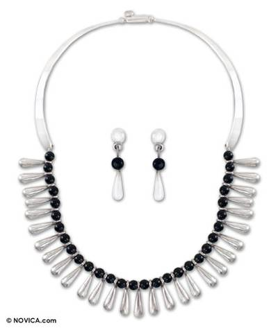 Obsidian jewelry set, 'Chantico Goddess' - Handcrafted Taxco Silver and Onyx Jewelry Set