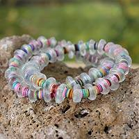 Beaded stretch bracelets, 'Odo Akoma' (pair) - Hand Made Recycled Glass Stretch Bracelets (Pair)