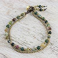 Jasper beaded bracelet, 'Dazzling Green Red Harmony' - Jasper and Brass Beads Double Strand Womens Bracelet