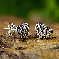 Sterling silver heart earrings, 'Filigree Love' - Sterling Silver Heart Openwork Stud Earrings