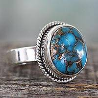 Sterling silver cocktail ring, 'Blue Sky in Jaipur' - Silver Silver and Blue Composite Turquoise Ring from India