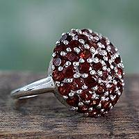 Garnet cluster ring, 'Red Geranium' - Indian Sterling Silver and Garnet Cluster Ring