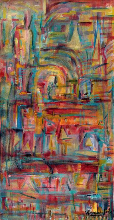 'Amid Colors' - Original Abstract Oil Acrylic Painting Signed Peru