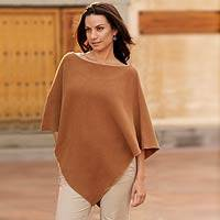 Cotton poncho, 'Cocoa Grace' - Handcrafted Tan Cotton Knit Poncho