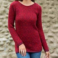 100% alpaca sweater, 'Cherry Orchard' - Red Floral Jacquard 100% Alpaca Women's Pullover Sweater