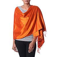 Silk shawl, 'Juicy Tomato' - Hand Woven Fringed Silk Shawl in Tomato by Indian Artisans