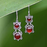 Carnelian dangle earrings, 'Radiant Queen' - Carnelian Sterling Silver Dangle Earrings