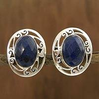 Lapis lazuli button earrings, 'Seductive Blue' - Women's Earrings Sterling Silver and Lapis Lazuli Jewelry