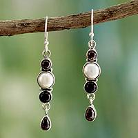 Cultured pearl and onyx dangle earrings,