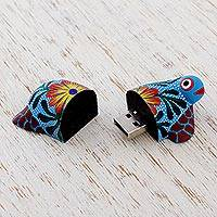 Wood alebrije flash drive, 'Floral Turtle' - Hand Painted Wood Turtle Flash Drive with 8 GB USB
