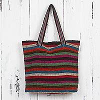 Wool shoulder bag, 'Andean Boho' - Colorful Handwoven Andean Wool Shoulder Bag
