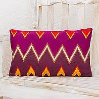 Cotton cushion cover, 'Solola Mountains' - Handwoven Cotton Cushion Cover in Amethyst and Plum