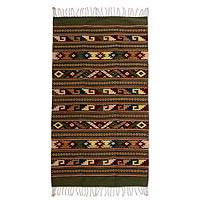 Zapotec wool rug, 'Road of Life' (2.5x5) - Unique Zapotec Wool Area Rug (2.5x5)
