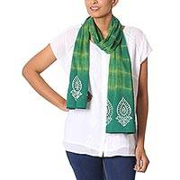 Batik cotton scarf, 'Green Beauty' - Green Indian Wax and Woodblock Dyed Batik Cotton Scarf
