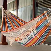 Cotton hammock, 'Festive Brazil' (double) - Artisan Crafted Cotton Striped Hammock (Double)