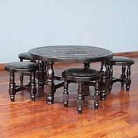Cedar and leather table and stools (set of 4), 'Inca Legend' - Fine Leather Coffee Table and Hand Tooled Stools (Set of 4)