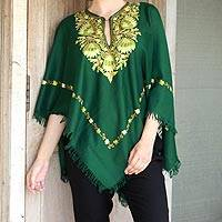 Wool poncho, 'Kashmiri Forest' - Kashmiri Chain Stitch Floral Embroidery Green Wool Poncho