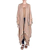 Natural cotton ruana cloak,
