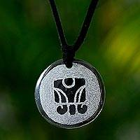 Jade pendant necklace, 'B'atz Maya Time' - Jade Jewelry Nahual Pendant Necklace
