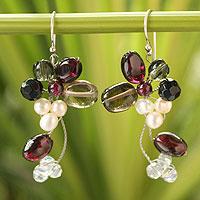 Cultured pearl and garnet cluster earrings,