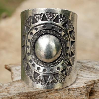 Sterling silver wrap ring, 'Hill Tribe Sun' - Handmade Sterling Silver Wrap Ring