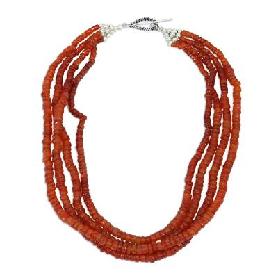 Carnelian strand necklace, 'Love's Fire' - Carnelian Necklace from India Beaded Jewelry