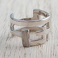 Sterling silver band ring, 'Modern Journey' - Sterling Silver Modern Band Ring by Mexican Artisans