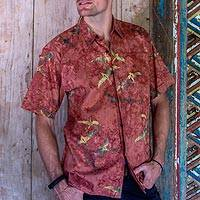Men's cotton batik shirt, 'Terracotta Birds' - Men's Hand-Stamped Cotton Batik Short Sleeve Shirt