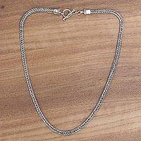 Sterling silver chain necklace, 'Dragon Braid' - Unisex Sterling Silver Chain Necklace from Bali