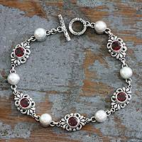 Cultured pearl and garnet link bracelet, 'Garden of Roses' - Pearl and Garnet Link Bracelet Handmade in Indonesia