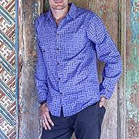 Men's cotton shirt, 'Bali Weave in Blue' - Blue Cotton Shirt for Men with Hand Stamped Print