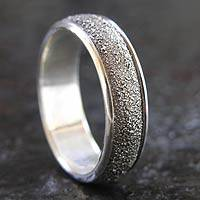 Men's sterling silver ring, 'Raw' - Men's Modern Sterling Silver Band Ring